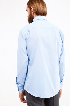 Formal shirt with micro-check pattern, Soft Blue, hi-res