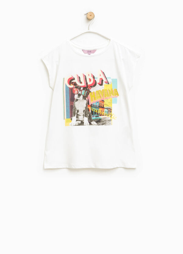 T-shirt with print and diamantés | OVS