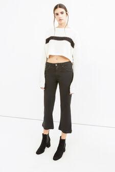 Pantaloni crop stretch gamba a zampa, Nero, hi-res