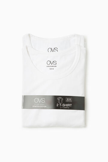 Two-pack cotton undershirts, Optical White, hi-res