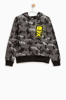 Sweatshirt with all-over The Simpsons print, Black, hi-res