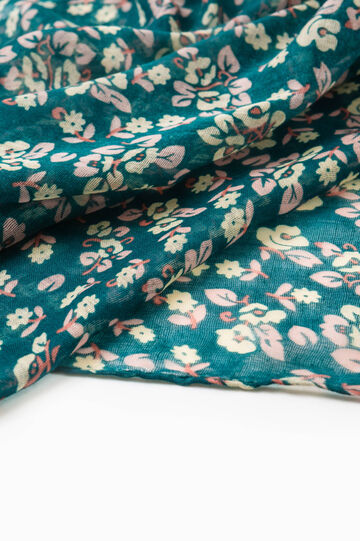 Scarf with all-over floral print, Green, hi-res