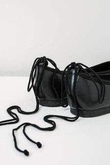 Solid colour lace-up ballerina flats, Black, hi-res