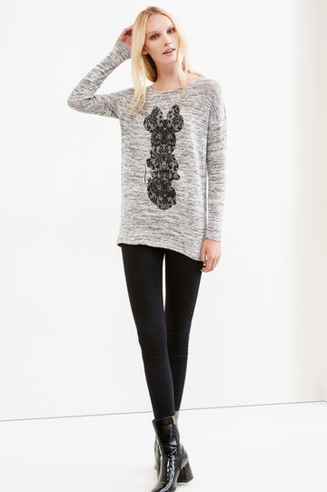 Mélange pullover with Minnie Mouse print, Grey Marl, hi-res
