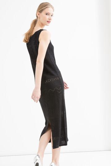 Sleeveless long jumper dress, Black, hi-res