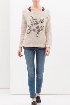 Printed sweatshirt in cotton lurex blend, Pink, hi-res