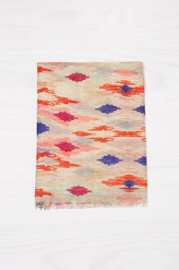 Printed scarf with fringe, Multicolour, hi-res