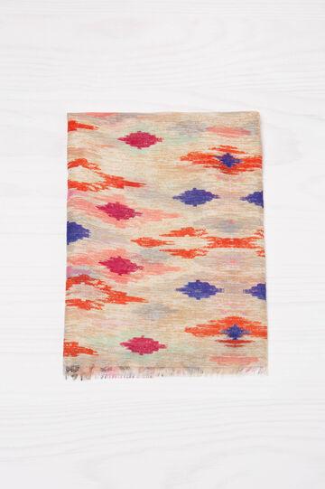 Sciarpa stampata con frange, Multicolor, hi-res