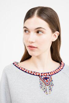 Cotton blend sweatshirt with beads, Grey Marl, hi-res