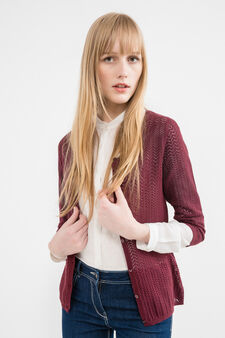 Solid colour knitted cotton cardigan, Aubergine, hi-res