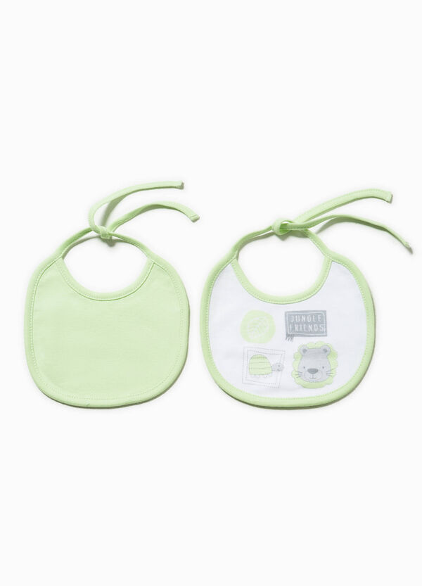 Two-pack solid colour bibs with print | OVS