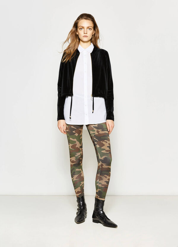 Camouflage leggings with striped waist | OVS