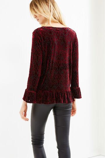 Velvet T-shirt with flounces, Red, hi-res