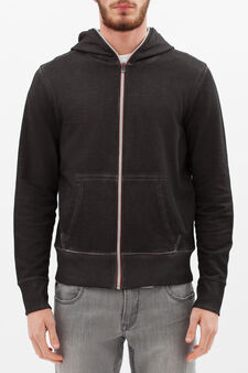 100% cotton hoodie with zip in contrasting colour, Smoke Grey, hi-res