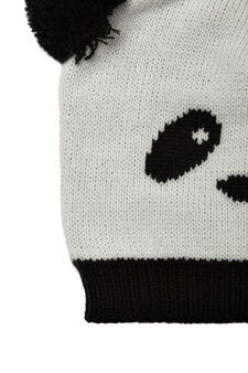 Panda beanie cap, White, hi-res
