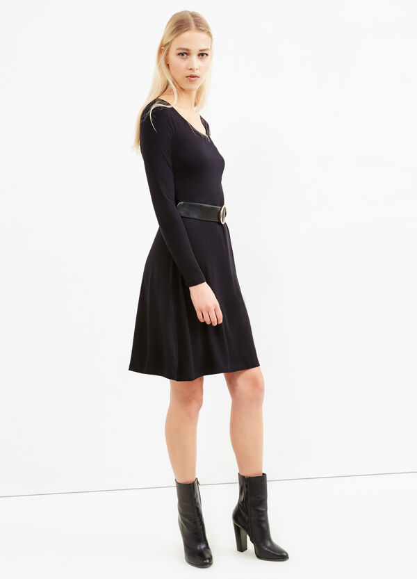 Solid colour stretch dress with belt | OVS