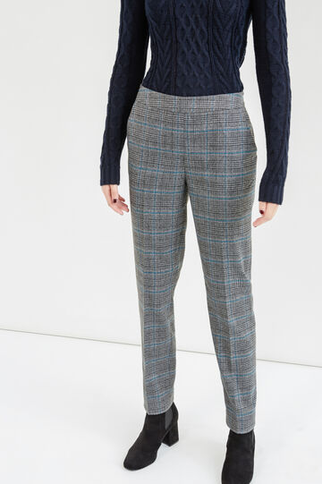 Pantaloni stretch fantasia a quadri, Grigio/Blu, hi-res