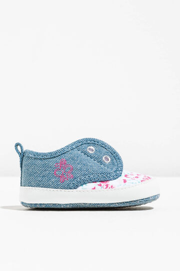 Slip-ons with floral pattern and embroidery, Multicolour, hi-res
