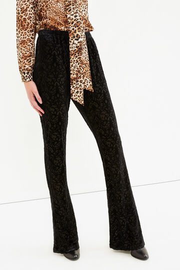 Stretch patterned trousers, Black, hi-res
