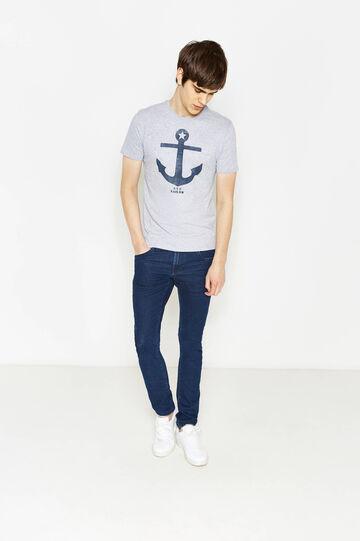 T-shirt stampata in puro cotone, Grigio melange, hi-res