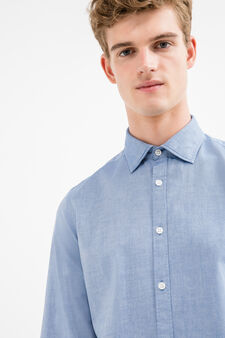 Slim-fit casual shirt in 100% cotton, Blue, hi-res