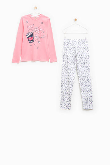 Cotton pyjamas with print and pattern, Coral Pink, hi-res