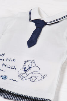 Cotton outfit with Sylvester the Cat, White/Blue, hi-res