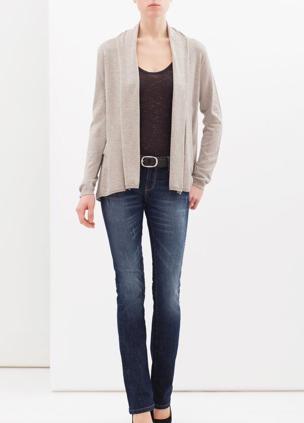 Viscose blend cardigan with lapels | OVS