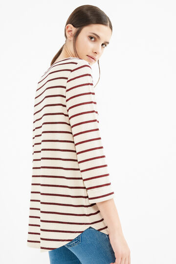 Stretch viscose T-shirt with striped pattern, Brown, hi-res