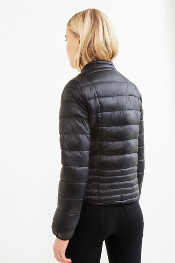 Solid colour down jacket with high neck, Black, hi-res