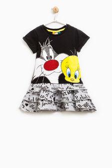 Looney Tunes print dress, Black/Grey, hi-res