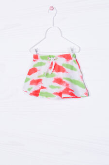 Stretch skirt with patterned drawstring, Multicolour, hi-res