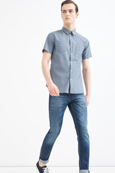 G&H patterned shirt in cotton, Grey/Blue, hi-res
