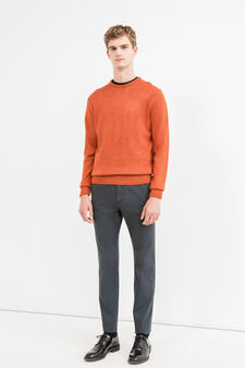 Pantaloni chino regular fit puro cotone, Blu, hi-res