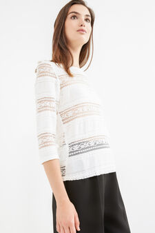 Stretch cotton T-shirt with lace., Milky White, hi-res