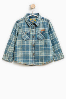 Check shirt in 100% cotton, Light Blue, hi-res