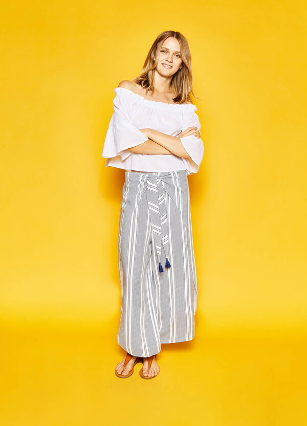 Striped trousers with slits | OVS