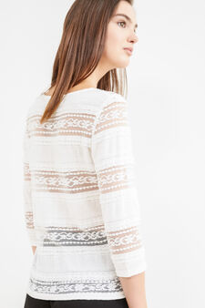 T-shirt cotone stretch con pizzo, Bianco latte, hi-res