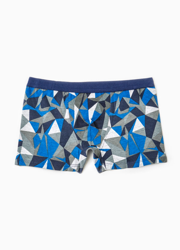 Cotton boxer shorts with geometric pattern | OVS