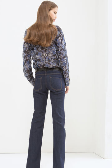 Patterned blouse, Navy Blue, hi-res