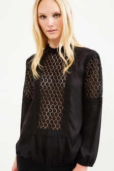 100% viscose blouse with lace, Black, hi-res