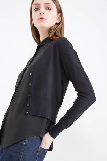 Viscose blend cropped cardigan., Black, hi-res
