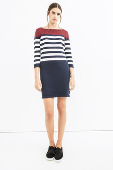 Stretch cotton dress with striped pattern, White/Blue, hi-res