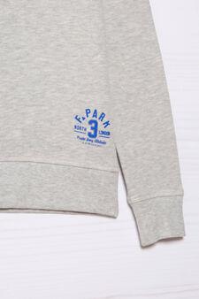 Plain 100% cotton sweatshirt, Grey Marl, hi-res