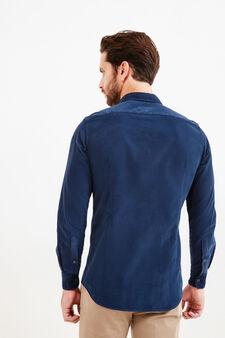 Camicia Rumford slim fit cotone tinta unita, Blu scuro, hi-res