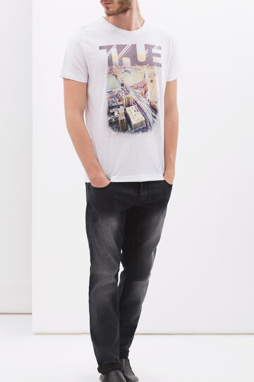 100% cotton T-shirt with crew-neck, Ivory White, hi-res