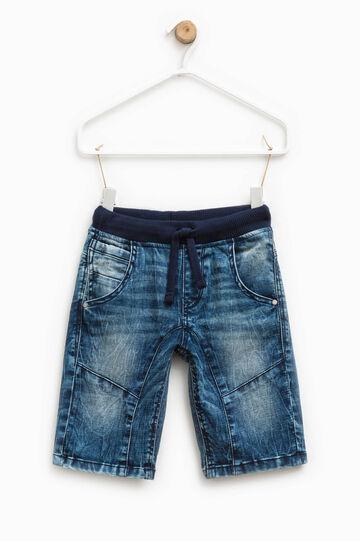 Stretch denim Bermuda shorts with drawstring