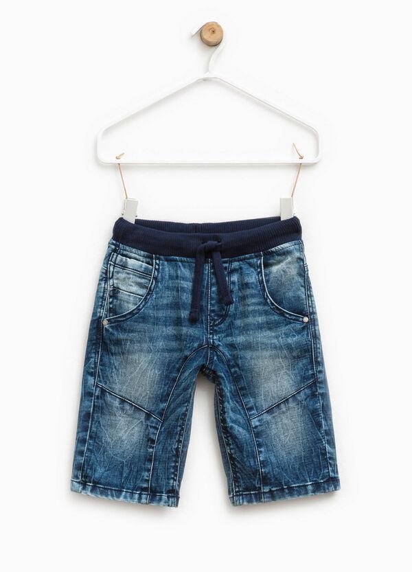Stretch denim Bermuda shorts with drawstring | OVS