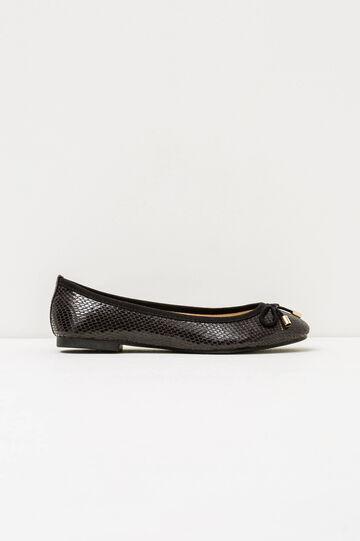 Python skin ballerina flat with round toe, Black, hi-res