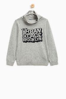 Speckled turtleneck jumper with lettering print, Grey, hi-res